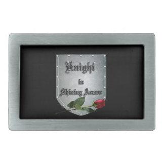 Knight Shield Rose Rectangular Belt Buckle