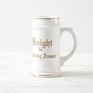 Knight Shining Armor Gold Look Text Beer Stein