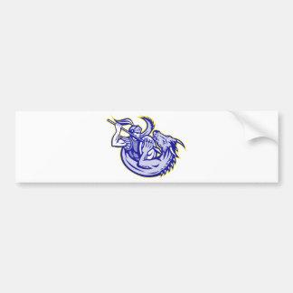 Knight St. George Fighting Dragon Mascot Bumper Sticker