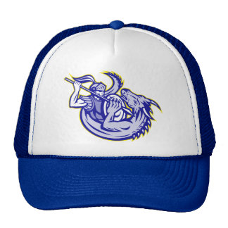 Knight St. George Fighting Dragon Mascot Mesh Hat