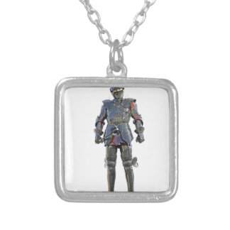 Knight Standing and Looking Forward Silver Plated Necklace