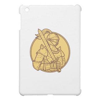 Knight Sword On Shoulder Circle Mono Line iPad Mini Cover