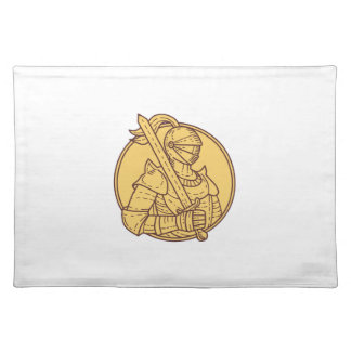 Knight Sword On Shoulder Circle Mono Line Placemat