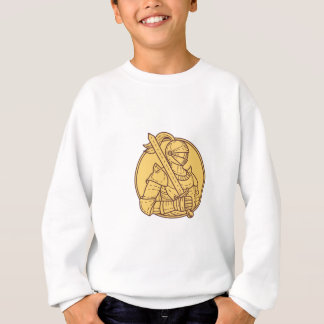 Knight Sword On Shoulder Circle Mono Line Sweatshirt