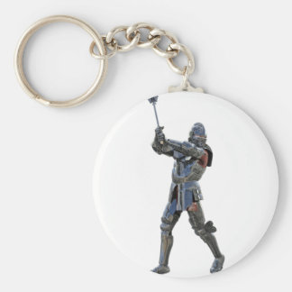Knight walking to the right with mace basic round button key ring