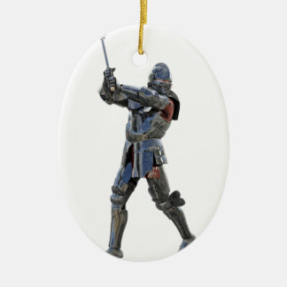 Knight walking to the right with mace ceramic ornament
