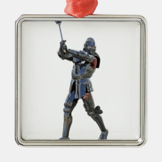 Knight walking to the right with mace metal ornament