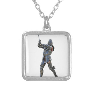 Knight walking to the right with mace silver plated necklace