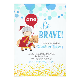 Knight with Balloon Birthday Invitation