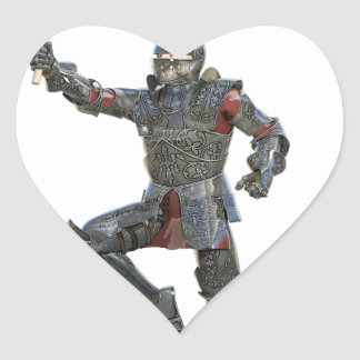 Knight with Mace Leaping to The Right Heart Sticker