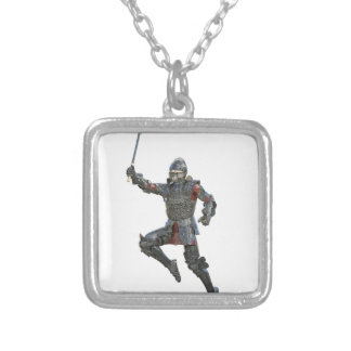 Knight with Mace Leaping to The Right Silver Plated Necklace
