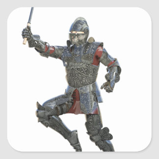 Knight with Mace Leaping to The Right Square Sticker