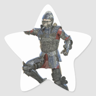 Knight with Mace Leaping to The Right Star Sticker