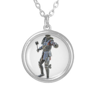 Knights Challenge to His Opponent Silver Plated Necklace