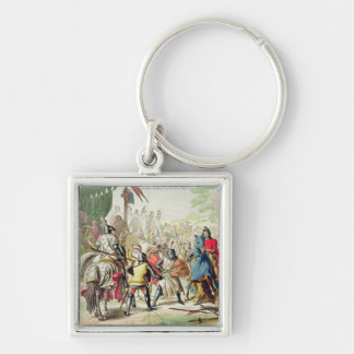 Knights Duelling on Foot in a Tournament, plate 1 Silver-Colored Square Key Ring