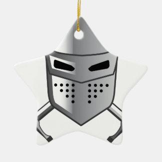 Knight's helmet and Crossed swords Vector Ceramic Ornament