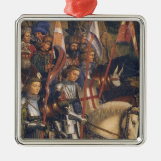 Knights of Christ (Ghent Altarpiece), Jan van Eyck Silver-Colored Square Decoration