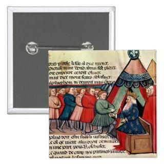 Knights pledging their allegiance 15 cm square badge
