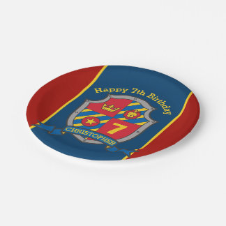 Knights shield 7th birthday red party custom plate