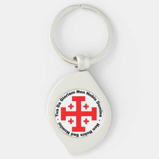 Knight's Templar design Silver-Colored Swirl Key Ring