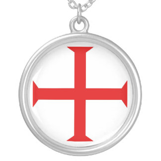 Knights Templar Sterling Silver Plate Necklace