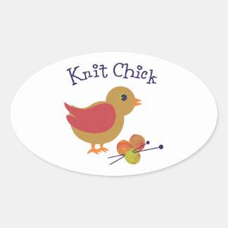 Knit Chick Oval Sticker