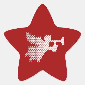 Knit Christmas Trumpet Angel Happy Birthday Jesus Star Sticker