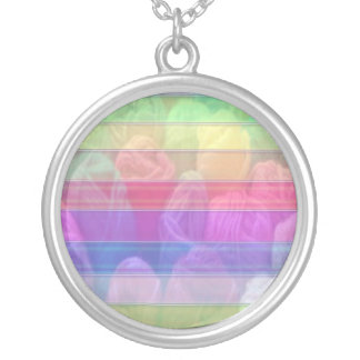 Knit Club - Rainbow Woolen Balls Silver Plated Necklace