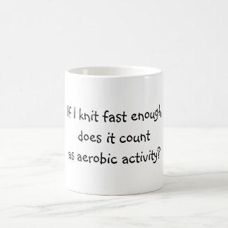 Knit Fast Enough Basic White Mug