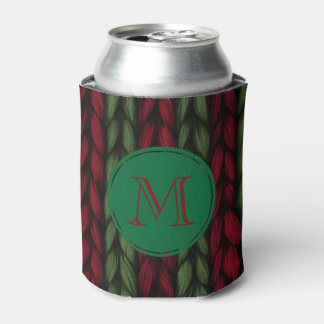 Knit Green and Red Monogram Can Cooler
