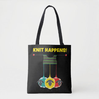 Knit Happen!  Funny Knitting Project Tote. Tote Bag