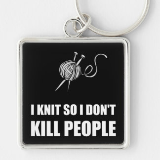 Knit Kill People White Silver-Colored Square Key Ring