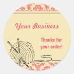 Knit Knitting Pink Damask Label Sticker