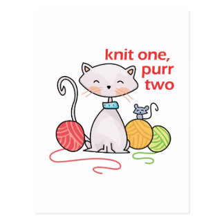 KNIT ONE PURR TWO POSTCARD