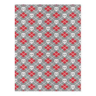 Knit Skull Diamond Pattern Postcard