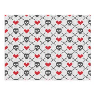 Knit Skull Heart Pattern Postcard