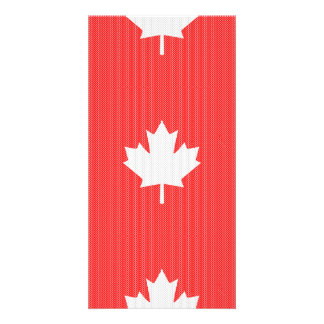 Knit Style Maple Leaf Knitting Motif Custom Photo Card