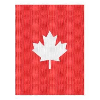 Knit Style Maple Leaf Knitting Motif Postcard