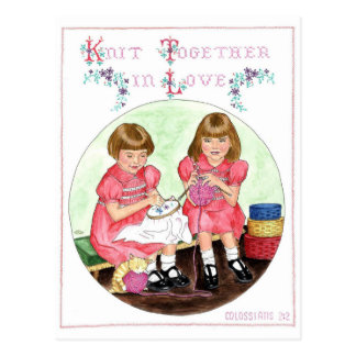Knit Together in Love Inspirational Postcard