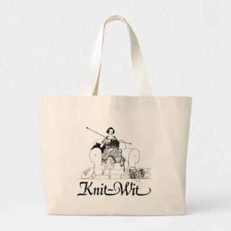 Knit-Wit Knitting Humor Jumbo Tote Bag