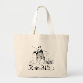 Knit-Wit Knitting Humor Large Tote Bag