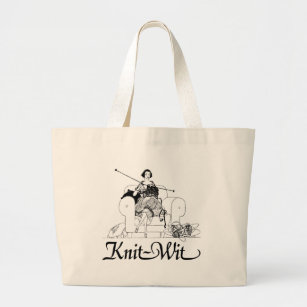 Knit-Wit Knitting Humour Large Tote Bag