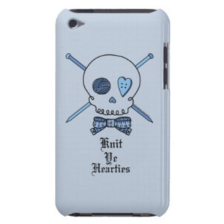 Knit Ye Hearties (Blue Background) Barely There iPod Covers