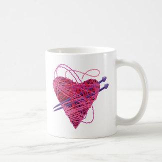 kniting pink heart basic white mug