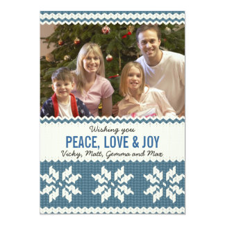 """Knitted Christmas Photo Card / Holiday Card 5"""" X 7"""" Invitation Card"""