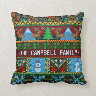 Knitted Christmas Reindeer Snowmen | Family Name Cushion