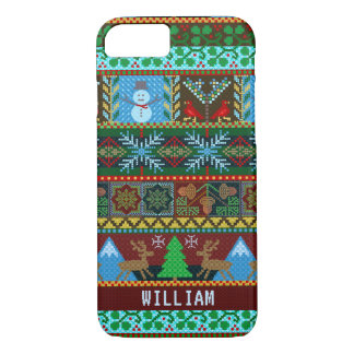 Knitted Christmas Sweater Snowman Reindeer | Name iPhone 8/7 Case