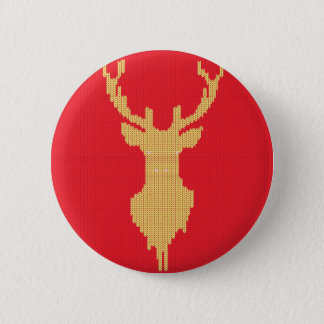 Knitted Deer 6 Cm Round Badge