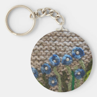 knitted garden basic round button key ring