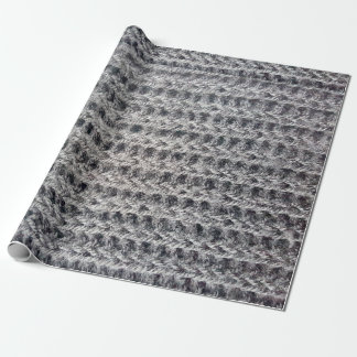 Knitted grey pattern wrapping paper